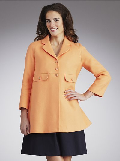 Swing Coat, Apricot - pattern: plain; length: below the bottom; fit: loose; style: single breasted; collar: standard lapel/rever collar; predominant colour: bright orange; occasions: casual, work; fibres: cotton - 100%; material texture: jersey; trends: pastels, brights; sleeve length: 3/4 length; sleeve style: standard; pattern type: fabric; pattern size: standard; texture group: jersey - stretchy/drapey