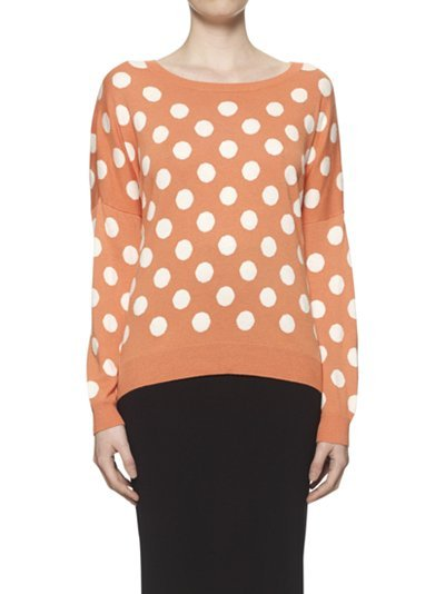 Betty Large Spot Jumper, Coral - neckline: round neck; pattern: polka dot; style: standard; predominant colour: terracotta; occasions: casual; length: standard; fibres: wool - 100%; fit: standard fit; sleeve length: long sleeve; sleeve style: standard; pattern type: knitted - other; pattern size: standard