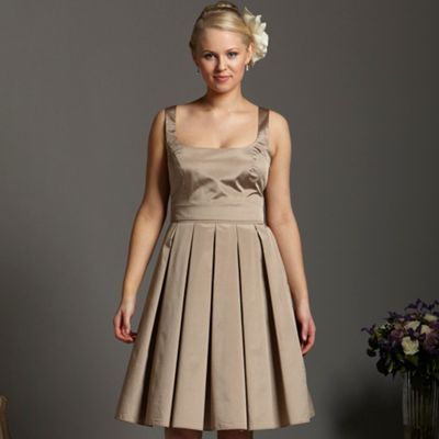 Light Gold Taffeta Prom Dress - sleeve style: wide vest straps; neckline: high square neck; pattern: plain; style: prom dress; waist detail: fitted waist, narrow waistband; back detail: tie detail at back; predominant colour: champagne; occasions: evening, occasion; length: on the knee; fit: fitted at waist & bust; fibres: polyester/polyamide - 100%; material texture: taffeta; hip detail: structured pleats at hip; sleeve length: sleeveless; texture group: structured shiny - satin/tafetta/silk etc.; pattern type: fabric; pattern size: standard
