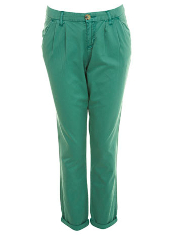 Green Chino Trousers - pocket detail: small back pockets, pockets at the sides; waist: mid/regular rise; predominant colour: emerald green; occasions: casual; length: ankle length; style: chino; fibres: cotton - 100%; hip detail: front pleats at hip level; trends: brights; fit: straight leg