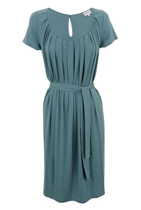 Marine Pleated Jersey Dress - style: shift; fit: fitted at waist; pattern: plain; waist detail: fitted waist, twist front waist detail/nipped in at waist on one side/soft pleats/draping/ruching/gathering waist detail, belted waist/tie at waist/drawstring; bust detail: ruching/gathering/draping/layers/pintuck pleats at bust; predominant colour: teal; occasions: casual, work; length: just above the knee; neckline: scoop; fibres: polyester/polyamide - 100%; material texture: jersey; hip detail: soft pleats at hip/draping at hip/flared at hip; back detail: keyhole/peephole detail at back; trends: aquatic; sleeve length: short sleeve; sleeve style: standard; pattern type: fabric; pattern size: standard; texture group: jersey - stretchy/drapey