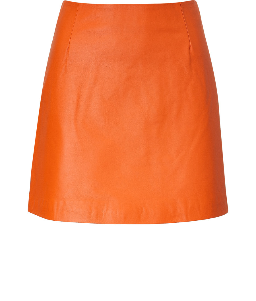 Pumpkin Leather Miniskirt - length: mini; pattern: plain; fit: tailored/fitted; waist detail: fitted waist; waist: high rise; predominant colour: bright orange; occasions: evening, work; style: a-line; fibres: leather - 100%; trends: sports luxe, brights; pattern type: fabric; pattern size: standard