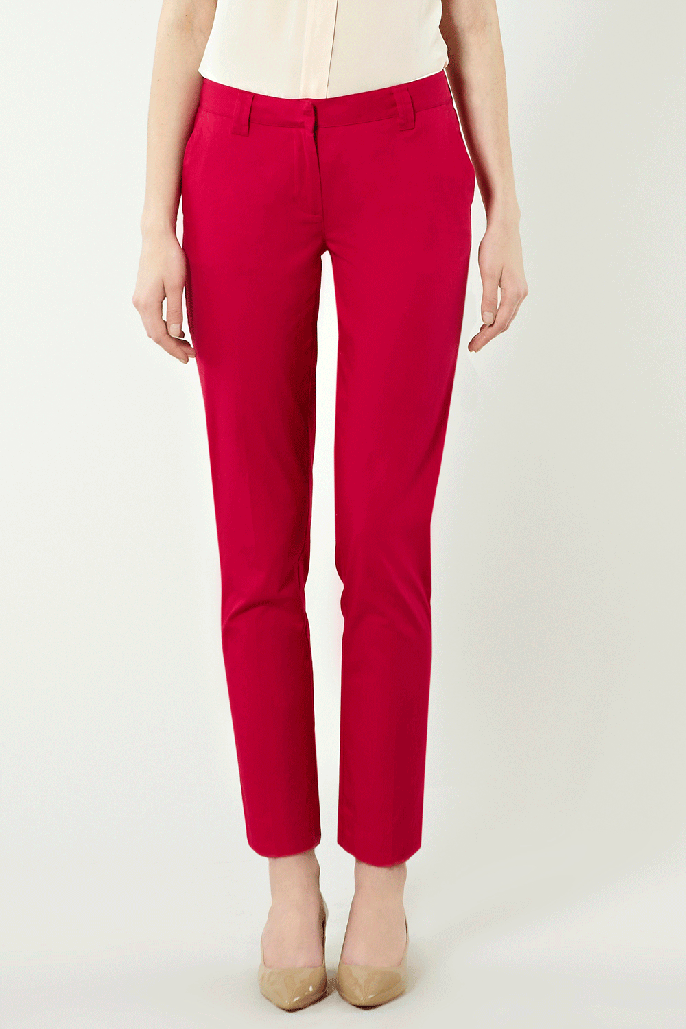 Stripe Side Trousers - pocket detail: small back pockets, pockets at the sides; waist: mid/regular rise; predominant colour: true red; occasions: evening, work; length: ankle length; fibres: cotton - 100%; trends: brights; fit: slim leg; style: standard