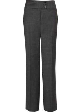 Grey Puppytooth Trouser - length: standard; waist detail: wide waistband/cummerbund; waist: mid/regular rise; predominant colour: charcoal; occasions: casual, work; fibres: polyester/polyamide - mix; fit: straight leg; style: standard