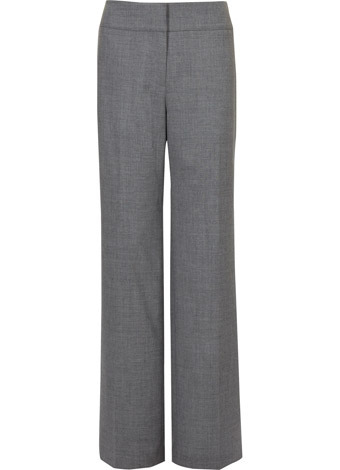 Grey Flannel Trousers - length: standard; waist detail: wide waistband/cummerbund, narrow waistband; waist: mid/regular rise; predominant colour: mid grey; occasions: evening, work; fibres: wool - stretch; hip detail: fitted at hip (bottoms); fit: straight leg; style: standard