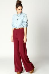 Frankie Pocket Front Wide Leg Trousers - hip detail: front pockets at hip; waist detail: belted waist/tie at waist/drawstring; length: extra long; waist: mid/regular rise; predominant colour: true red; occasions: casual; fibres: cotton - mix; trends: brights; fit: wide leg; style: standard