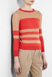 Chinati Stripe Sweater - neckline: round neck; pattern: horizontal stripes, two-tone, striped; style: standard; predominant colour: bright orange; occasions: casual, work; length: standard; fibres: cotton - 100%; material texture: jersey; fit: slim fit; waist detail: fitted waist; trends: prints; sleeve length: long sleeve; sleeve style: standard; pattern type: knitted - other; pattern size: standard; texture group: jersey - stretchy/drapey