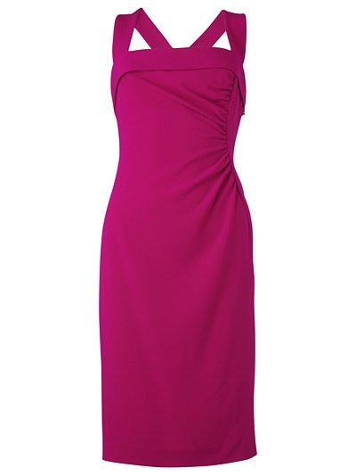 Ilay Pencil Dress, Raspberry - sleeve style: wide vest straps; style: shift; neckline: high square neck; pattern: plain; bust detail: added detail/embellishment at bust, ruching/gathering/draping/layers/pintuck pleats at bust; waist detail: fitted waist, twist front waist detail/nipped in at waist on one side/soft pleats/draping/ruching/gathering waist detail; back detail: low cut/open back; hip detail: fitted at hip; predominant colour: hot pink; occasions: evening, occasion; length: just above the knee; fit: body skimming; fibres: polyester/polyamide - mix; trends: brights; sleeve length: sleeveless; pattern type: fabric; pattern size: standard