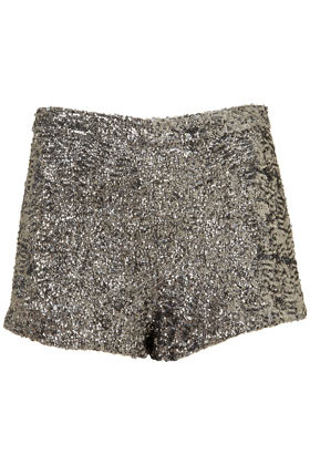 Sequin Knicker Shorts - style: shorts; length: short shorts; waist: mid/regular rise; predominant colour: silver; occasions: casual; fibres: polyester/polyamide - 100%; fit: skinny/tight leg