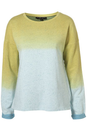 Petite Dip Dye Speckle Sweat - neckline: round neck; pattern: tie dye; style: standard; occasions: casual; length: standard; fibres: cotton - 100%; fit: standard fit; predominant colour: multicoloured; trends: sports luxe; sleeve length: long sleeve; sleeve style: standard; pattern type: knitted - other; pattern size: standard