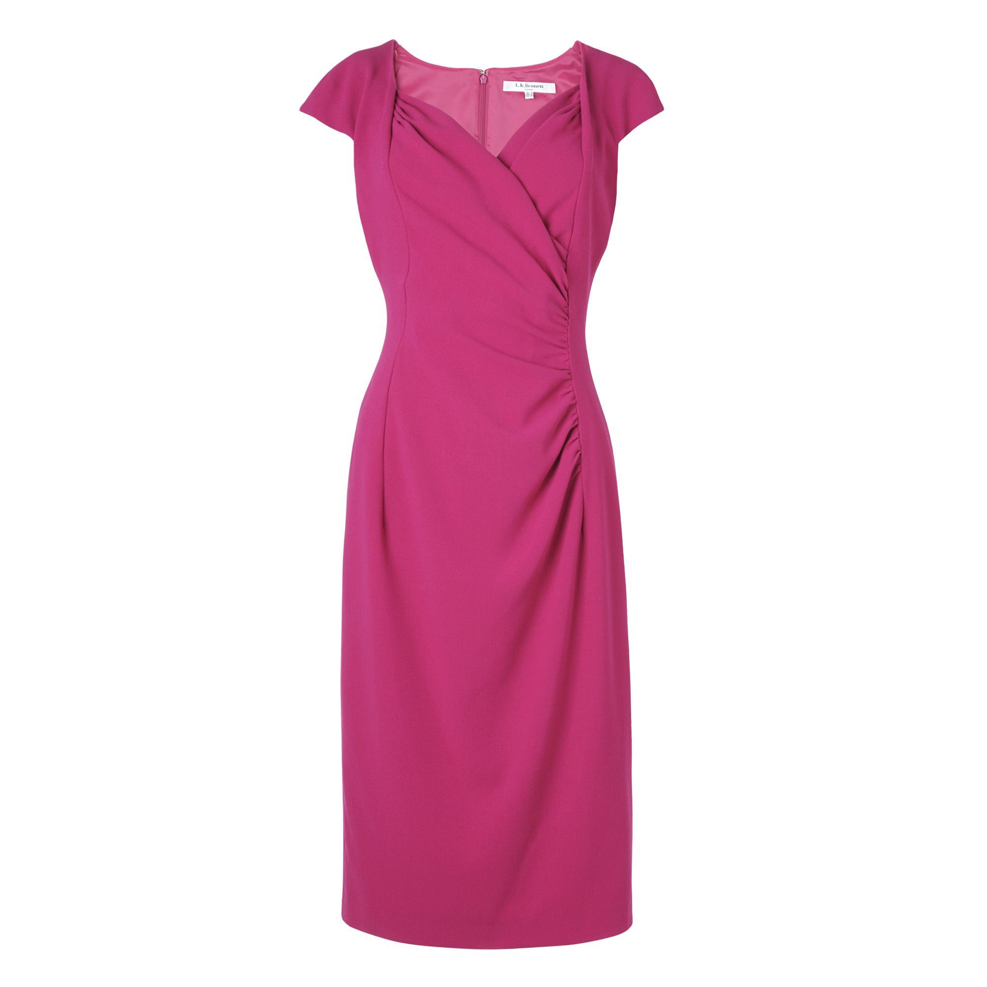 Women's Georgia Dress, Raspberry - style: shift; length: below the knee; neckline: v-neck; sleeve style: capped; pattern: plain; waist detail: twist front waist detail/nipped in at waist on one side/soft pleats/draping/ruching/gathering waist detail; predominant colour: hot pink; occasions: evening, work, occasion; fit: body skimming; fibres: polyester/polyamide - stretch; hip detail: ruching/gathering at hip; trends: brights; sleeve length: short sleeve; pattern type: fabric; pattern size: standard