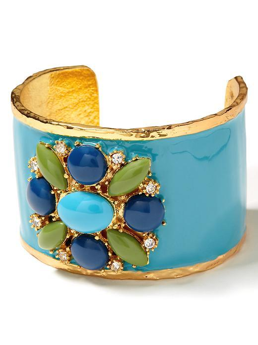 Flower Brooch Cuff - predominant colour: multicoloured; style: cuff; size: large/oversized; material: chain/metal