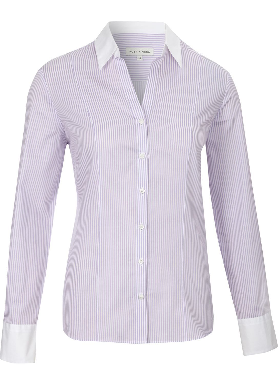 Women's Lilac Bengal Stripe Shirt, Lilac - neckline: shirt collar/peter pan/zip with opening; pattern: horizontal stripes, vertical stripes, pinstripe; waist detail: fitted waist; style: shirt; bust detail: buttons at bust (in middle at breastbone)/zip detail at bust; predominant colour: lilac; occasions: work; length: standard; fibres: cotton - 100%; fit: tailored/fitted; trends: pastels; sleeve length: long sleeve; sleeve style: standard; pattern type: fabric; pattern size: standard