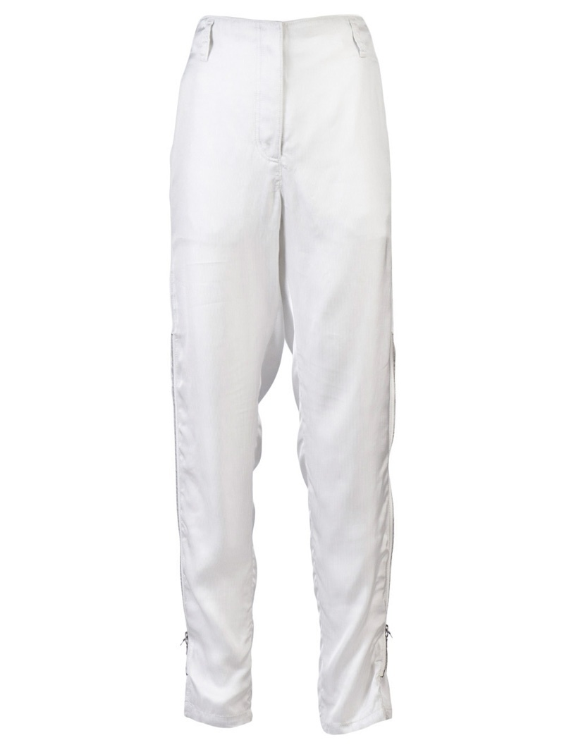 Banker Stripe Trouser - length: standard; pocket detail: small back pockets, pockets at the sides; waist: high rise; style: loose fit trousers; predominant colour: white; occasions: casual; fibres: silk - mix; trends: white, sports luxe; fit: skinny/tight leg