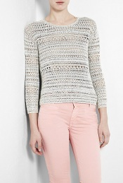 Slim Crochet Knit Jumper - neckline: round neck; pattern: lightly patterned, holey knit, patterned/print; style: standard; predominant colour: light grey; occasions: casual; length: standard; fibres: cotton - 100%; fit: slim fit; waist detail: fitted waist; trends: pastels; sleeve length: long sleeve; sleeve style: standard; pattern type: knitted - other; pattern size: small &amp; light
