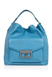 Vintage Blue Front Pocket Bianca Hobo - predominant colour: royal blue; style: shoulder; length: shoulder (tucks under arm); size: standard; material: leather; pattern: plain