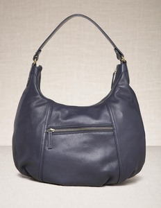 Smart Leather Bag - predominant colour: navy; style: shoulder; length: shoulder (tucks under arm); size: standard; material: leather; embellishment: zips; pattern: plain