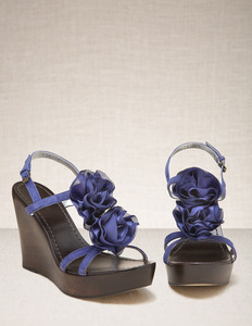 Corsage Wedges - predominant colour: navy; material: suede; heel height: high; heel: wedge; toe: open toe/peeptoe; style: standard