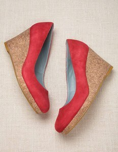 Essential Wedges - predominant colour: bright orange; material: suede; heel height: high; heel: wedge; toe: round toe; style: courts