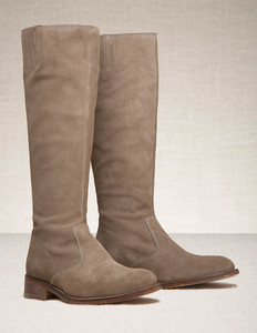 Spring Boots - predominant colour: taupe; material: leather; heel height: flat; heel: standard; toe: round toe; boot length: knee; style: standard
