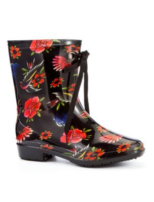 Iron Fist Society Cropped Wellington Boots - predominant colour: multicoloured; material: plastic/rubber; heel height: flat; embellishment: print; heel: standard; toe: round toe; boot length: ankle boot; style: wellies; pattern: patterned/print