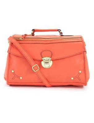Zip Satchel Bag - predominant colour: coral; type of pattern: standard; style: structured bag; length: across body/long; size: standard; material: faux leather; embellishment: studs; pattern: plain
