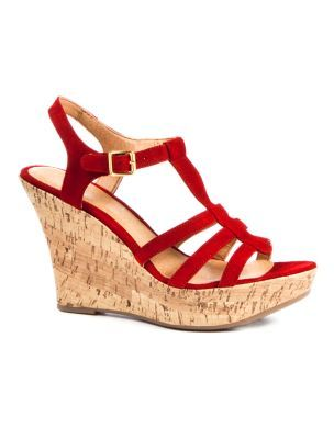 Leather Gladiator Cork Wedge Sandals - predominant colour: true red; material: leather; heel height: high; ankle detail: ankle strap; heel: wedge; toe: open toe/peeptoe; style: gladiators
