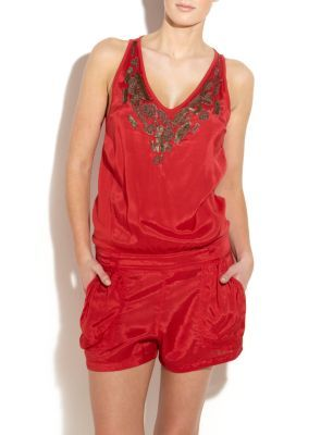 Red Lari Embellished Playsuit - fit: tailored/fitted; length: short shorts; predominant colour: true red; occasions: casual, evening; fibres: polyester/polyamide - 100%; waist detail: narrow waistband; trends: brights