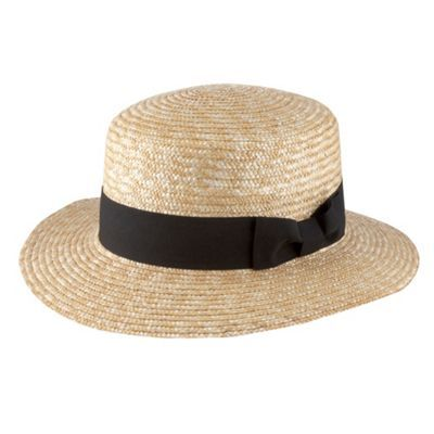 Natural Straw Ribbon Boater Hat - predominant colour: stone; type of pattern: small; style: brimmed; size: standard; material: macrame/raffia/straw; embellishment: ribbon; pattern: two-tone
