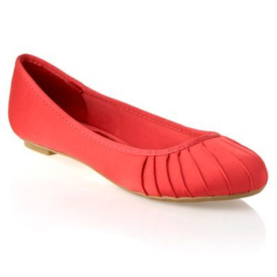 Peach Pleat Satin Pump - predominant colour: coral; material: satin; heel height: flat; toe: round toe; style: ballerinas / pumps
