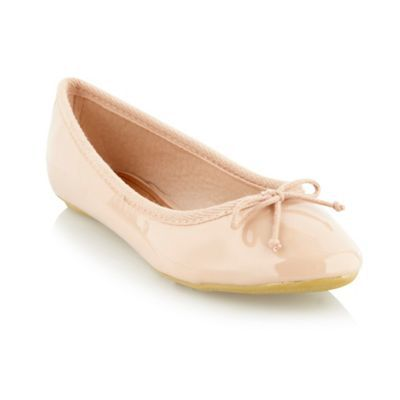 Beige Patent Ballet Pump Shoes - predominant colour: nude; material: patent; heel height: flat; embellishment: ribbon; toe: round toe; style: ballerinas / pumps; finish: patent