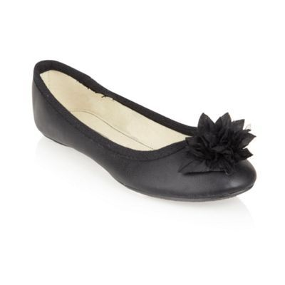 Black Flower Corsage Pumps - predominant colour: black; material: faux leather; heel height: flat; toe: round toe; style: ballerinas / pumps