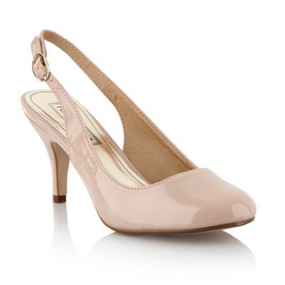 Light Pink Slingback Court Shoes - predominant colour: blush; material: patent; heel height: high; heel: kitten; toe: round toe; style: slingbacks; finish: patent