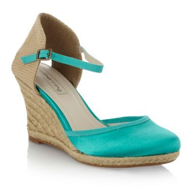 Turquoise Espadrille Wedge Shoes - predominant colour: turquoise; material: satin; heel height: mid; ankle detail: ankle strap; heel: wedge; toe: round toe; style: courts