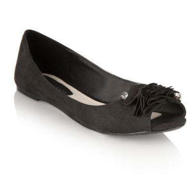 Black Ruffle Peep Toe Pumps - predominant colour: black; material: suede; heel height: flat; embellishment: jewels; toe: open toe/peeptoe; style: ballerinas / pumps