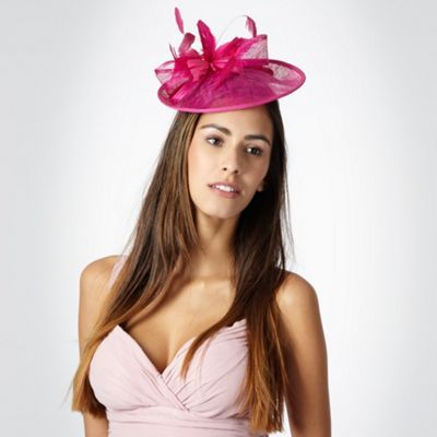 Bright Pink Lamour Saucer Fascinator - predominant colour: hot pink; style: fascinator; size: small; material: fabric; embellishment: feather; pattern: plain