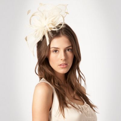 Cream Mesh Flower Hair Band - predominant colour: ivory; type of pattern: light; style: fascinator; size: standard; material: fabric; embellishment: feather, netting