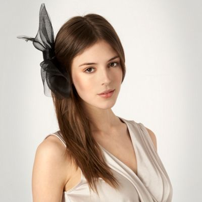 Black Mesh Bow Hair Clip - predominant colour: black; style: fascinator; size: standard; material: fabric; embellishment: bow, feather; pattern: plain