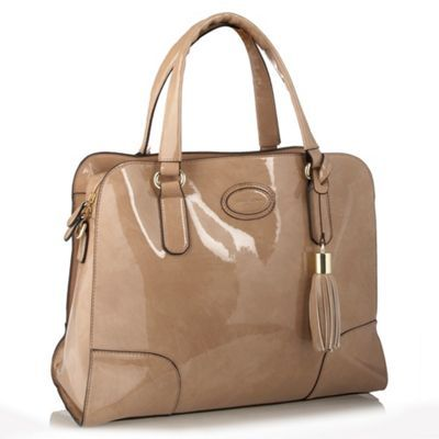 Beige Tassel Detail Grab Bag - predominant colour: stone; style: grab bag; length: shoulder (tucks under arm); size: standard; material: patent; pattern: plain; finish: patent