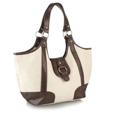 Natural Lurex Canvas Tote Bag - predominant colour: ivory; type of pattern: large; style: tote; length: handle; size: standard; material: fabric; pattern: plain, two-tone