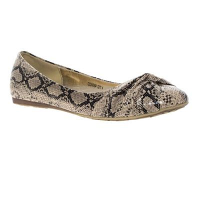 Natural Snake Effect Ballerinas - predominant colour: stone; material: faux leather; heel height: flat; embellishment: animal print; toe: round toe; style: ballerinas / pumps; pattern: animal print