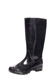 Molly Sparkle Print Pu Wellies - predominant colour: black; material: plastic/rubber; heel height: flat; embellishment: glitter; heel: block; toe: round toe; boot length: mid calf; style: wellies