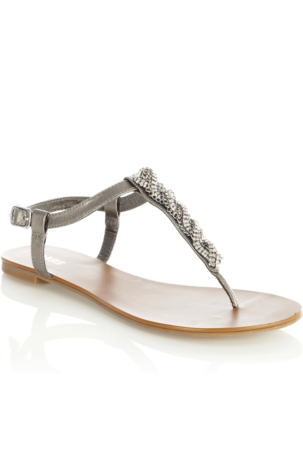 Chain Toepost Sandals - predominant colour: charcoal; material: faux leather; heel height: flat; embellishment: beading, crystals, jewels, sequins; ankle detail: ankle strap; heel: standard; toe: toe thongs; style: strappy