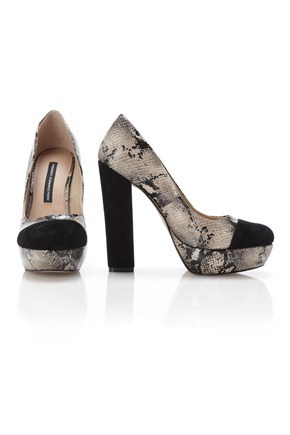 Jade Platform Court Shoes - predominant colour: black; material: leather; heel height: high; embellishment: animal print; heel: platform; toe: round toe; style: courts; pattern: animal print