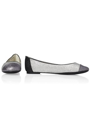Pipa Toe Cap Ballerina - predominant colour: silver; material: faux leather; heel height: flat; embellishment: glitter; toe: round toe; style: ballerinas / pumps