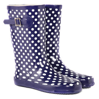 Navy Spot Low Wellies - predominant colour: navy; material: plastic/rubber; heel height: flat; embellishment: buckles, print; heel: standard; toe: round toe; boot length: mid calf; style: wellies; pattern: patterned/print