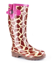 Viva La Diva Warm Lined Print Wellies E - predominant colour: burgundy; material: plastic/rubber; heel height: flat; embellishment: animal print, buckles, print; heel: standard; toe: round toe; boot length: knee; style: wellies; pattern: animal print, patterned/print
