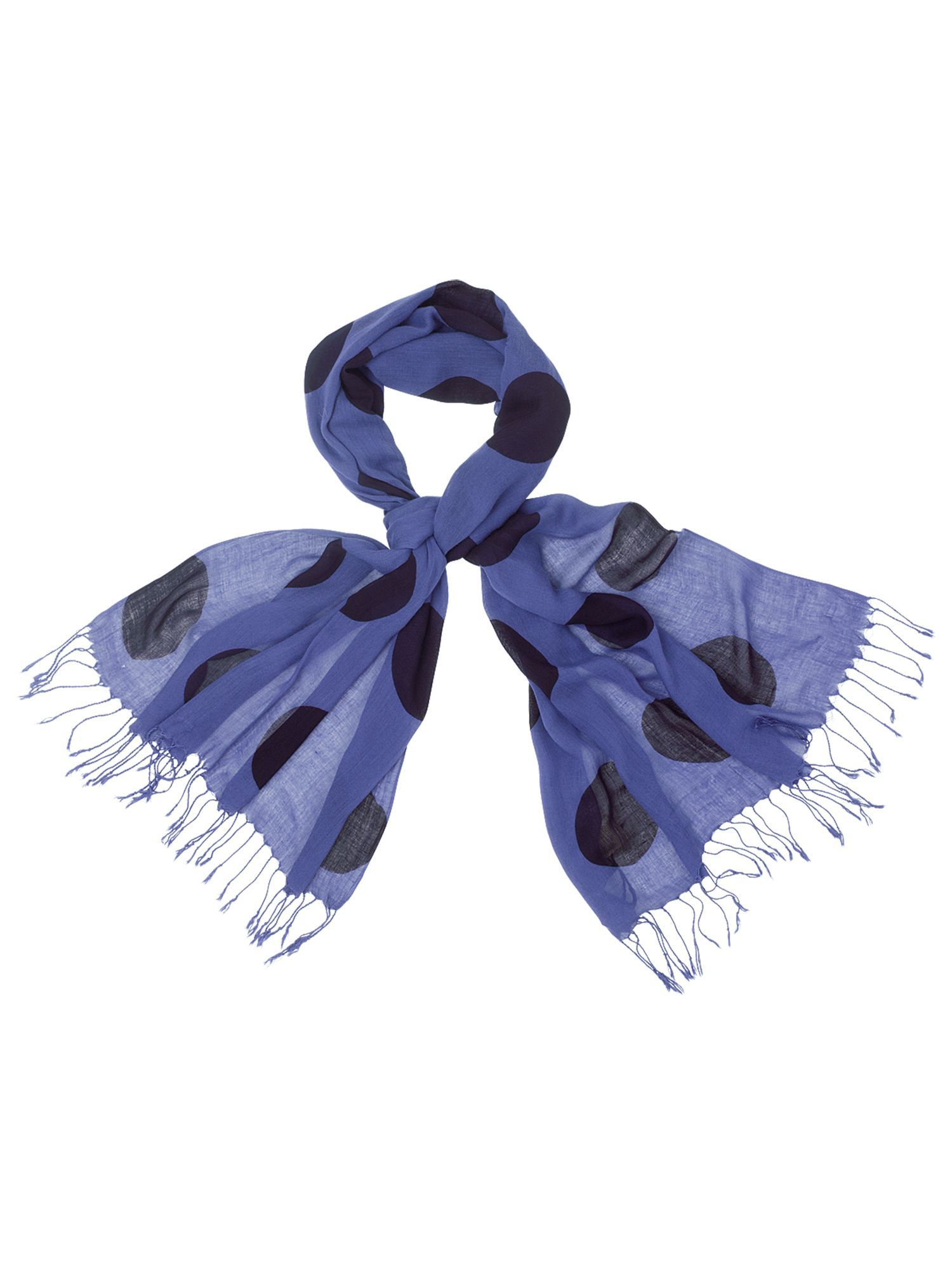 Large Spot Scarf, Blue - predominant colour: royal blue; type of pattern: light; style: regular; size: standard; material: fabric; embellishment: tassels; pattern: polka dot