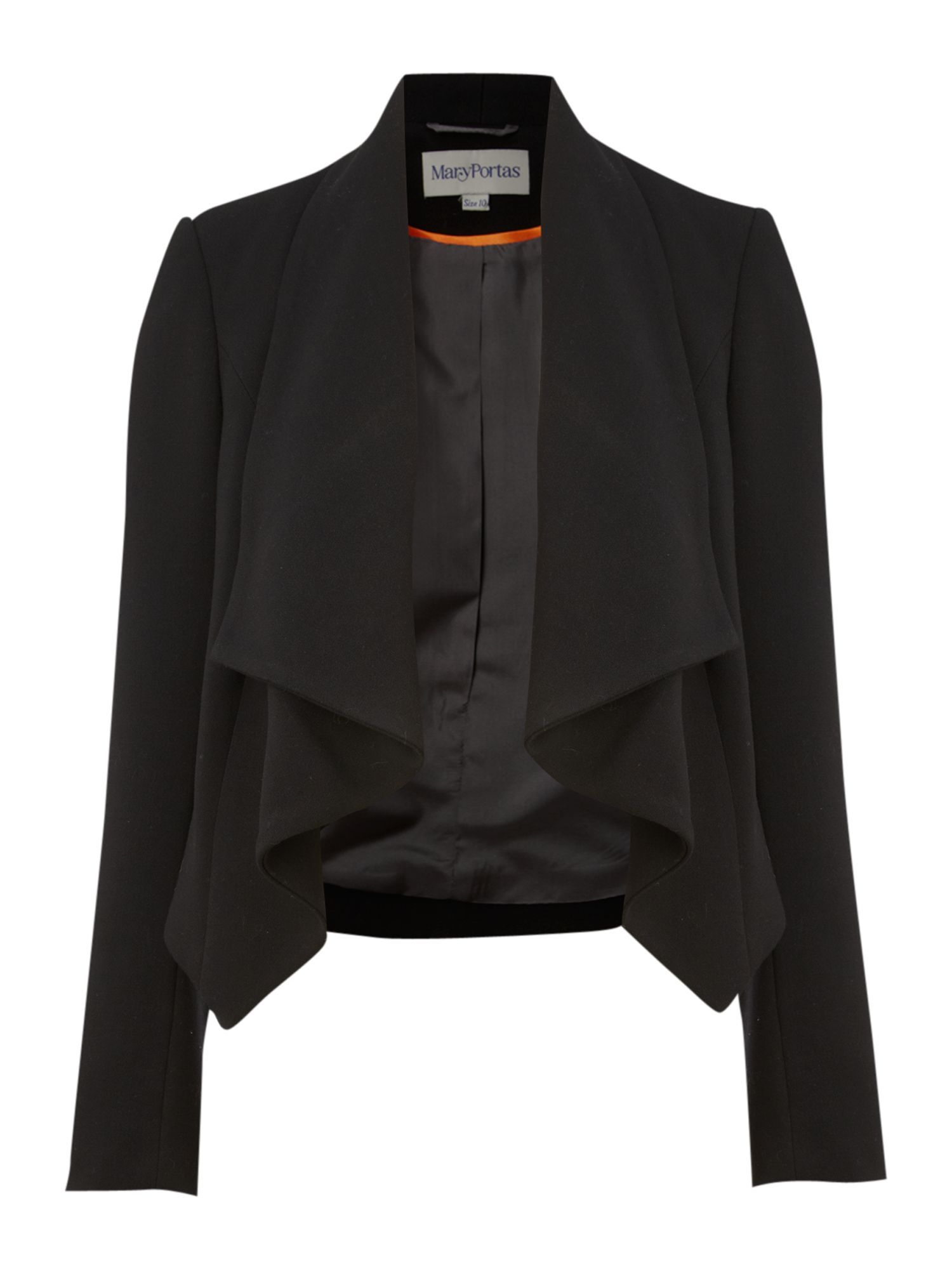 Women&#x27;s Cropped Jacket With Drape Collar, Black - pattern: plain; style: cropped; shoulder detail: shoulder pads; collar: shawl/waterfall; length: cropped; predominant colour: black; occasions: evening, work; fit: tailored/fitted; fibres: polyester/polyamide - mix; sleeve length: long sleeve; sleeve style: standard; collar break: low/open; pattern type: fabric; pattern size: standard