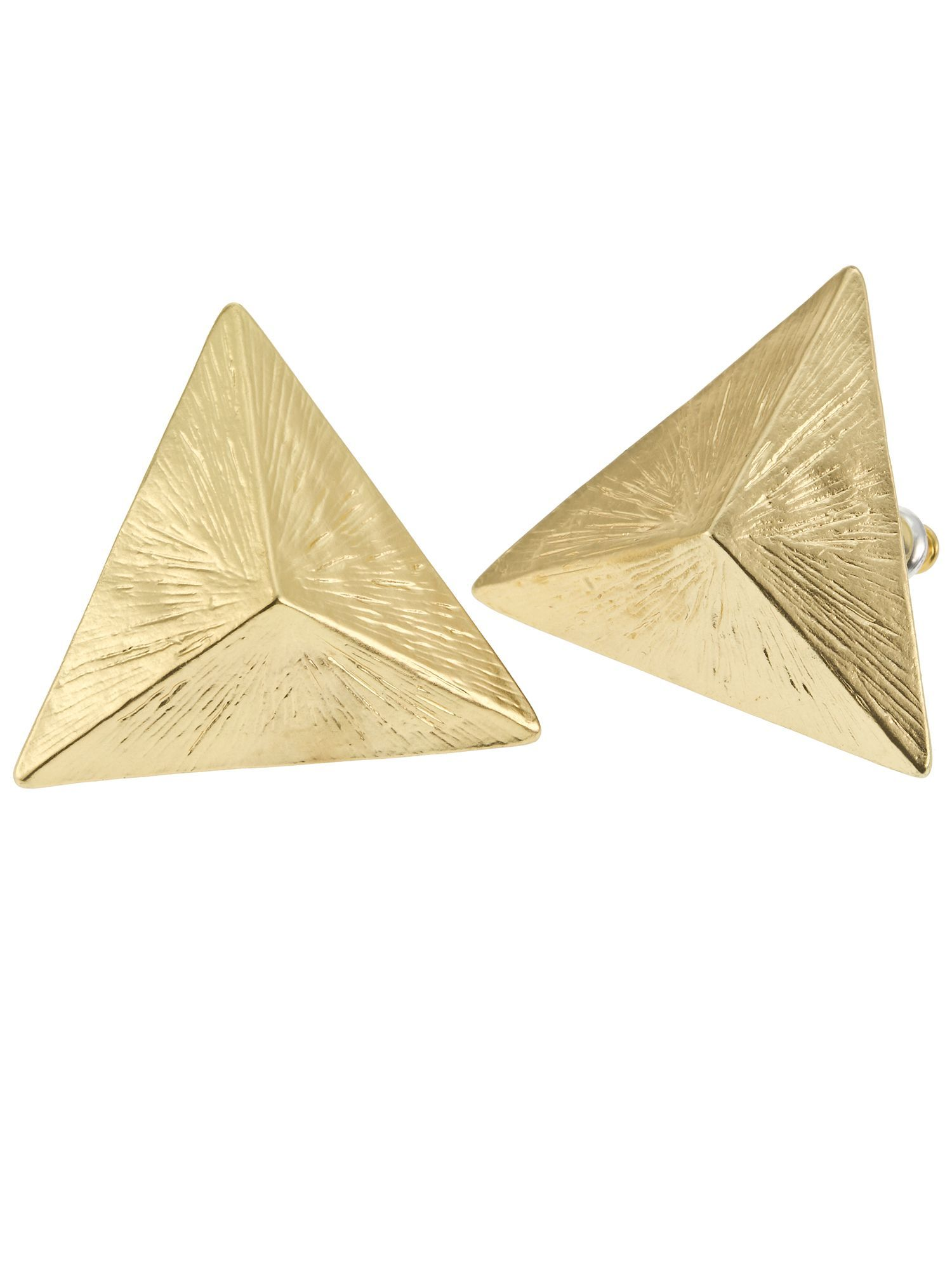 Pyramid Stud Earrings, Gold - predominant colour: gold; style: stud; length: short; size: small; material: chain/metal; fastening: pierced